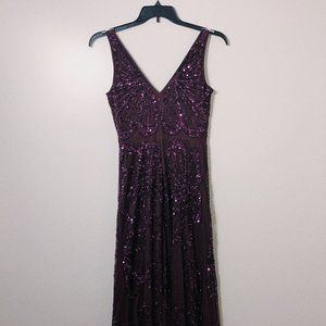 Adriana Papell sleeveless purple Beaded gown